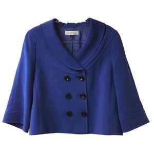 Tahari Size 16 Blue Bell Sleeve Cape Pea Coat F73